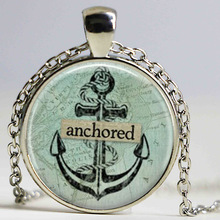 Anchored anchor necklace Silver anchor pendant Vintage Marine Ocean Sea Anchor pendant Jewelry Gift Ideas for her