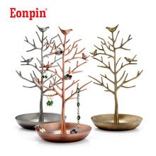 Eonpin Bird Tree Jewelry Display Stand Holder Craft Accessories Bracelet Earring Necklace Display Stand Ornament Display Holder(China)