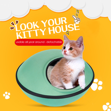 Customize MOQ 500 pcs Cat Bed UFO Shaped Puppy Beds Cat Houses Special Pets Nest with Cotton Mat(China)
