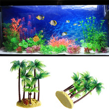 Simulation Plastic Aquatic Water Aquarium Supplies Aquarium Plant Pet Cylinder Turtle Jar Ornament Beach Coconut Tree(China)
