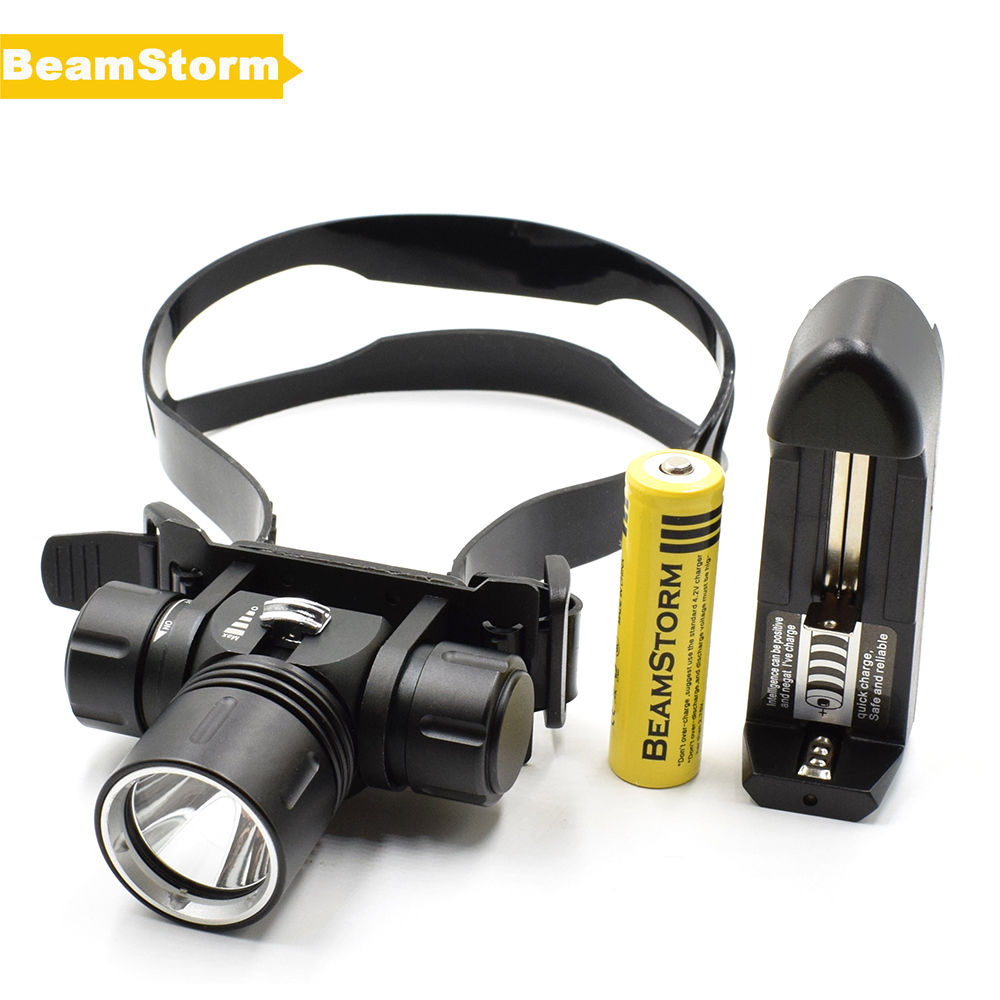 BeamStorm DV88 Max 100m Underwater Fishing Head Light Diving Rotary Headlamp 1000 Lumens XM-L L2 Stepless Mode Power By 18650<br>
