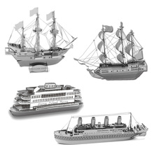 3D Metal Puzzles DIY Model Gift World's Ship Ferry Caribbean Black Pear Titanic Golden Hind Jigsaws Toys Present Gift