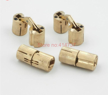 Durable 4pcs 24*50mm 24mm Brass Barrel Hinge Cylindrical Hidden Cabinet Hinges Concealed Invisible Mortise Mount Hinge(China)
