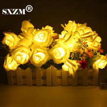 SXZM 2meter 20 x LED Novelty Rose Flower Fairy String Fashion Holiday Lighting Wedding Garden Party Christmas indoor Decoration(China)