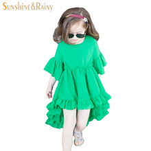 Kids Girls Summer Dresses Chiffon Flower Vintage Irregular Princess dress toddlers baby girl prom Party Wedding Evening Dresses