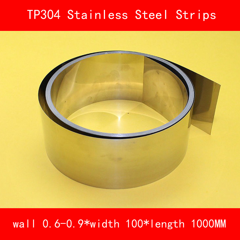 TP304 Stainless Steel Strips 0.6-0.9* 100 * 1000mm Coil Molds Distance Washer Precision Parts Coiled Silicon Steel Sheet<br>