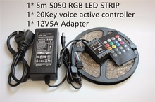 5050 RGB LED Strip Light  waterproof  20Keys Music Voice Sensor Control 12V 5A Power Adapter Flexible Light  Free Ship