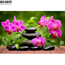 5d Diy Diamond Painting Cross Stitch zen orchid Diamond Embroidery Flowers Crystal Round Diamond Mosaic Pictures Needlework