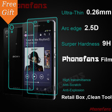 For Sony Xperia Z2 L50W Front + Back Retail Box 0.26mm HD Tempered Glass Screen Protector Toughened protective Film For Sony Z2