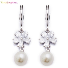 Yunkingdom fashion brand eardrop ball Simulated pearl silver color wedding party earrings for women  K1389