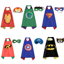 1 cape+ 1 mask cosplay sets for kids.action figures avengers captain american.hulk,iron man,super man,thor toys for party