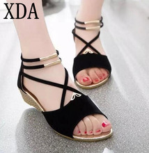 XDA 2017 new Women Summer shoes fashion platform suede sandals women's shoes flat shoes sandals free shipping X413