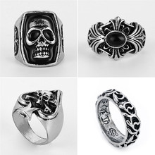 Rings Men's Titanium Steel Personality Cross Skull Punk Stainless steel CZ Stone Non-mainstream Vintage ARMY Rings R00006(China)