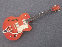 Bigsby style tailpiece hollow body electric jazz guitar, Free shipping direct from factory,Gretsch  orange color bigsby  bridge