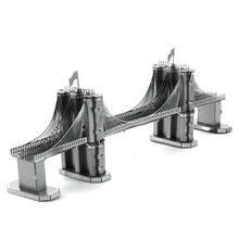 Brooklyn Bridge 3D Metal Puzzle DIY Assembly Building Model Kids Toys Educational Toys Magnetic Tangram Jigsaw Puzzles(China)