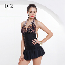 New Arrival Swimwear Women Leopard One Piece Swimsuit Skirt Halter Strappy Vintage Bathing Suits Backless Monokini Beach Wear(China)