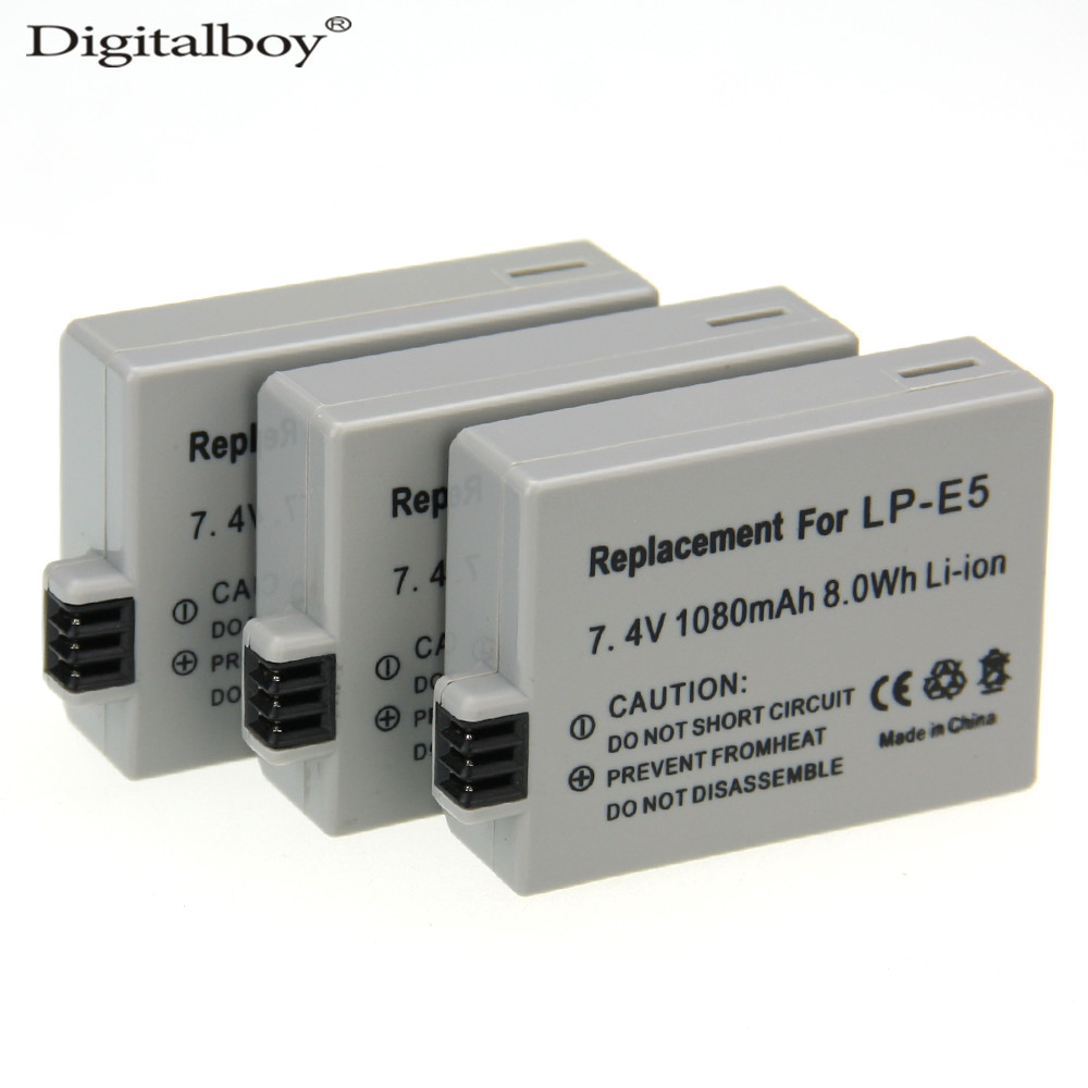 Digital Boy 7.4V 1080mAh LP-E5 LP E5 LPE5 3PCS Hot sales Rechargeable Digital Camera Li-ion Battery for Canon 450D 500D 1000D<br><br>Aliexpress