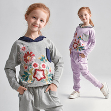 Girls Winter Clothes 2 pcs Set Sport Costumes Fitness Clothing Outfit Floral Printed for Age 3456789 10 11 12 13 14T Years Old