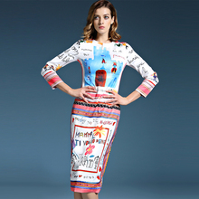 Street Dress 2017 New Fashion Street New Dress Full Sleeve Fresh Graffiti Letter Painting Print Luxury Dress For Women(China)