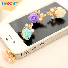 Universal Phone Headphone Dust Plug for 3.5mm Smartphone for MP3/4 iPad Rose Flower 3D Crystal Bead Pearl Anti Dust Plug(China)
