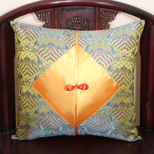 Patchwork Chinese knot Pillow Cushion Covers Couch Chair Lumbar pillow backrest Natural Real Silk Brocade Zipper Pillowcases