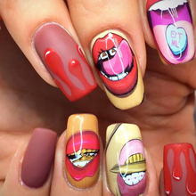 1 Sheets Funny Nail Sticker Sexy Mouth Lips Full Cover Pattern Water Decals Nail Art Manicure Wraps Nail Tattoos TRSTZ466-467(China)