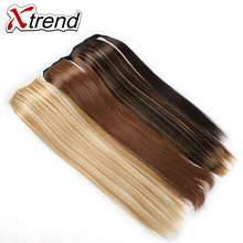 Xtrend 24'' Long Straight Synthetic Hair Ponytails Clip In Fake Hair Drawstring Pony Tail High Temperature Fiber Hair Extension(China)