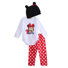 Hot Sales Kids Baby Girls 3Pcs Outfit Sets Long Sleeve Cartoon Rompers+Polka Dot Stripes Pants+Cute Hat Kids Infant Clothes Sets