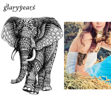 1 Sheet Waterproof Body Art Tattoo Sticker KM-040 Elephant Pattern Decal Design Water Transfer Body Art Temporary Tattoo Sticker(China)