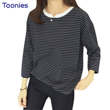 Spring Tees Tops Women T-shirts Female Tees Shirts Small V Gap All-match Loose Stripe Thin Long Sleeved T-shirt Camisetas Mujer