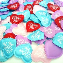 HL 100pcs Mix colors Padded Felt Love Heart Appliques Wedding Decoration DIY Sewing Crafts 35MM A316(China)