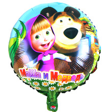 Hot New Lovely Masha and bear party air balls Cartoon character martha Foil Balloons birthday Party decorations kids toys(China)