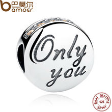 BAMOER 2 Color Wholesale 925 Sterling Silver Only You Crystals Beads Charms for Jewelry Making Friendship Gift SCC019(China)