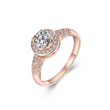 Cindiry Top Brand Luxury Exquisite Copper & Zircon Ring 4 Sizes Sweet Romantic Love Engagement Ring Rose Gold Ring Bague P0.15(China)