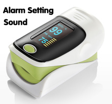 Alarm Setting OLED display Fingertip Pulse Oximeter, Blood Oxygen SpO2 saturation oximetro monitor Sound&Visual alarm 5 color