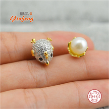 [MeiBaPJ]Chicken Egg Real Pearl Earrings For Women Jewelry Of Silver Freshwater Pearl With S925 Silver Earrings Party Jewelry(China)