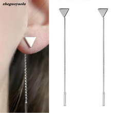 Fashion Triangle Earrings Tassel Chain Earrings Anti-allergic Word Earrings For Women Long Earrings Boucle D'oreille Femme 2017(China)