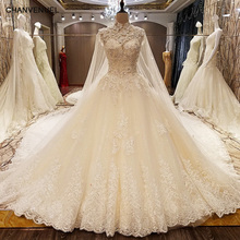 LS78479 wedding dresses turkey corset back beaded crystal ball gown luxury arab wedding dress with long train ivory real photos(China)