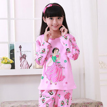 2016 Christmas Cartoon Print Kids Girl's Pajamas Set, Pink Girls Pyjamas