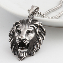 Hip Hop Lion Head Pendant Necklace For Men Luxury Stainless Steel Male Jewelry Friendship Gift(China)