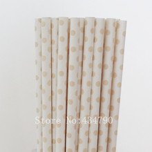 200pcs Ivory Swiss Dot Paper Straws-Vanilla Beige Cream Polka Dot Drinking Paper Straws-Wedding Vintage Baby Shower Bulk Colored