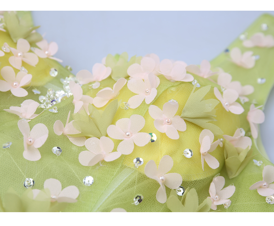 Angel Wedding Dress Marriage Bride Bridal Gown Vestido De Noiva 2017Soft powder, Qingjian Lvxian beauty, petals, green 9718 22