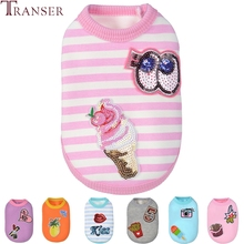 Transer Pet Dog Clothes Lovely Ice Cream Cartoon Striped Cat Dog Vest Tank Top Small Dogs Winter Warm Coat 71123(China)