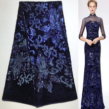 Free shipping (5yards pc) shining sequins embroidered African velvet lace  fabric in navy blue high quality for party dress FZZ88 4398676162ce
