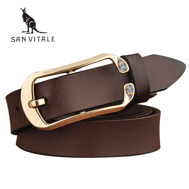 SAN VITALE New Designer Women's Belts Genuine Leather Brand Waist Strap Female Waistband Fashion Buckles Fancy Vintage for Jeans(China (Mainland))