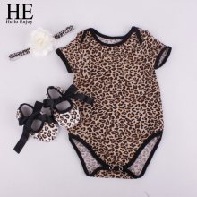 HE Hello Enjoy Baby girl clothes sets newborn short Leopard grain baby bodysuit  (Short sleeve romper + hair band+ shoes)