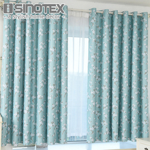 Window Curtain For Children Room Blackout Blinds Polyester Fabric Green Floral Flowers Woven Home Decor Living Room Custome Made