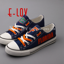 E-LOV Print Florida Gators Blue Shoes Low Top Color Lace Canvas Shoes Fashion College Casual Shoes Free Shipping(China)