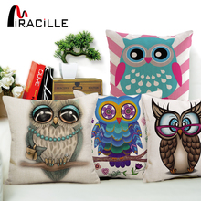 Miracille Square Decorative Cotton Linen Owl Style Sofa Cushions Home Decor Throw Pillows without filling 45x45cm(China)