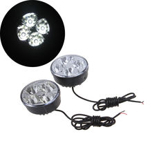 POSSBAY -94% OFF 2pcs Round Auto Car Lights 4 LED DRL Driving Daytime Running Head Fog Lamp White Color Light(China)